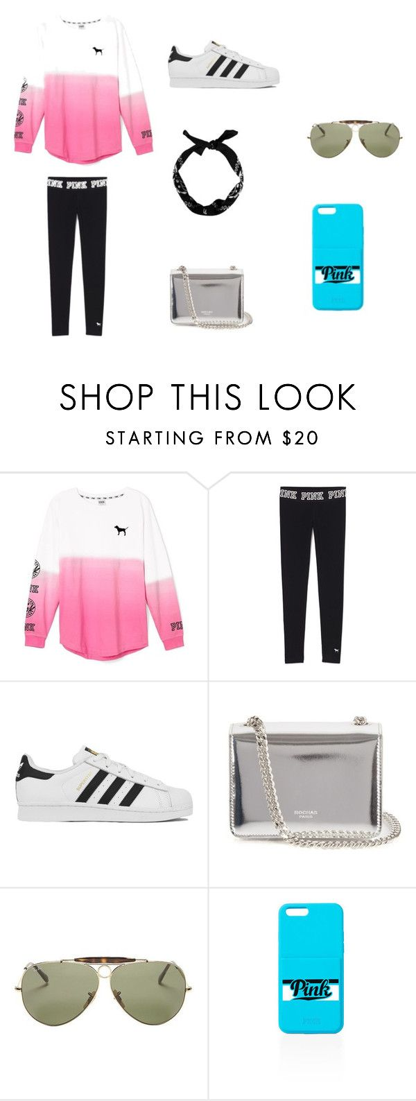 """Any Day Outfit"" by jazmine-1222 ❤ liked on Polyvore featuring Victoria's Secret, adidas, Rochas, Ray-Ban, women's clothing, women, female, woman, misses and juniors"