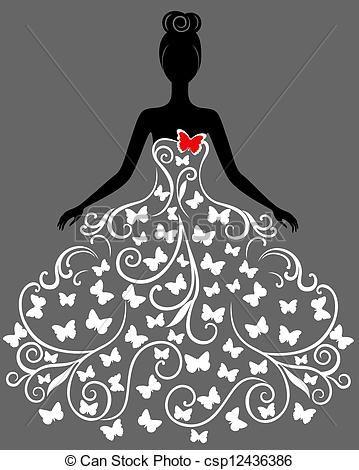 Silueta de mujer con vestido de mariposas