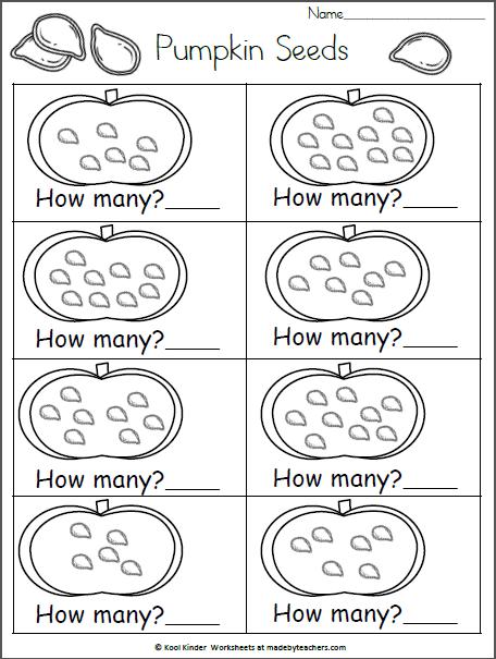 How Many Pumpkin Seeds 5 10 Madebyteachers Kindergarten Math Worksheets Pumpkin Math Activities Pumpkin Activities Kindergarten