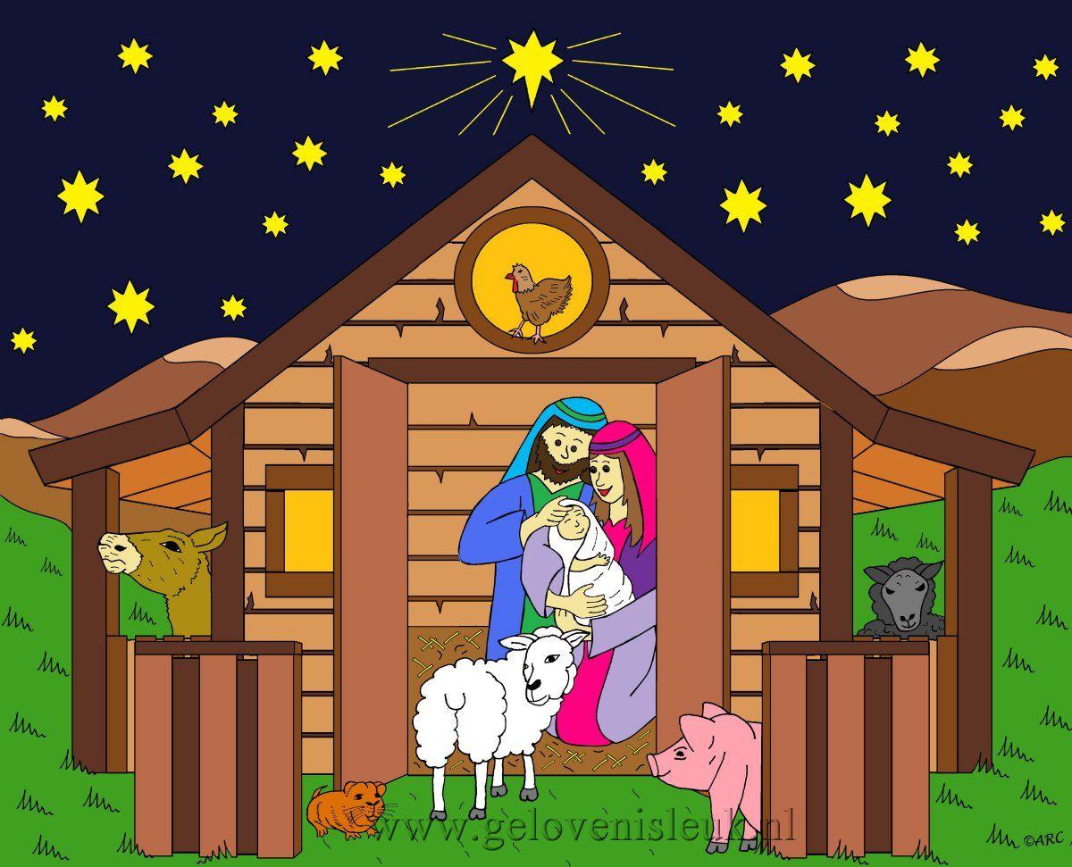 Jozef en Maria in de stal met kindje Jezus en de dieren www.gelovenisleuk.nl