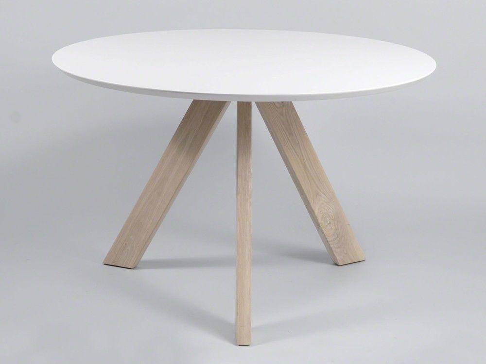 Küchentisch Esstisch rund Ø120 Eiche hell MDF-Tischplatte Weiß - runder küchentisch weiß