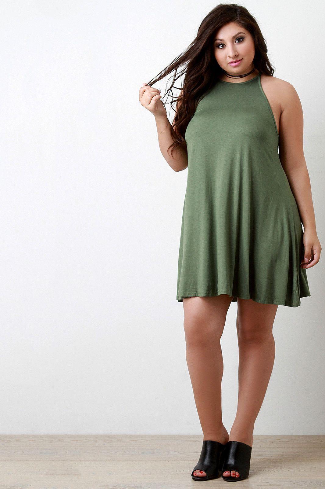 Basic Jersey Knit Sleeveless Shift Dress