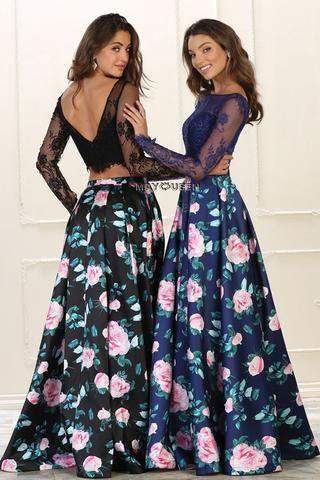 Floral 2 piece prom dress & Fab party dress Mq1511 - CLOSEOUT ...