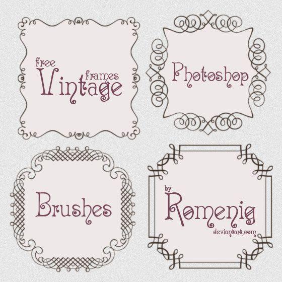 Free vintage doodle calligraphy frames brushes