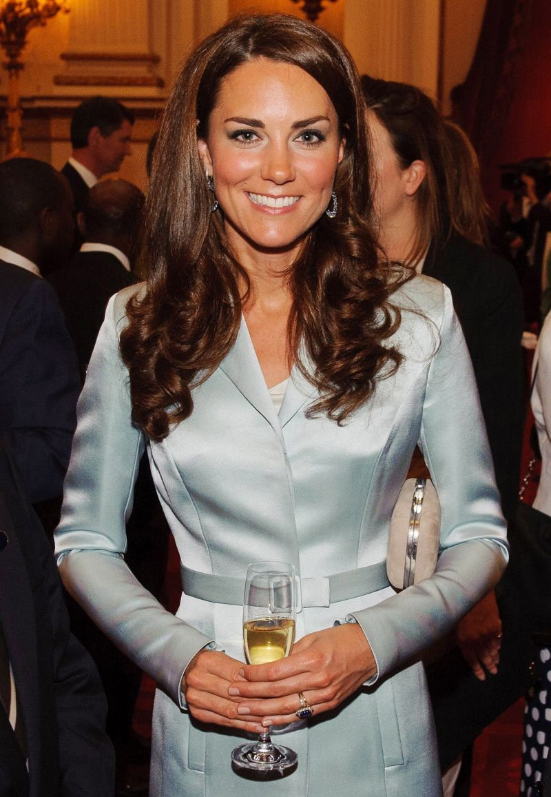 Absolutely stunning coat dress in pastel blue on stunning Duchess Kate...Designer Christopher Kane worn at the Olympics in Britain.