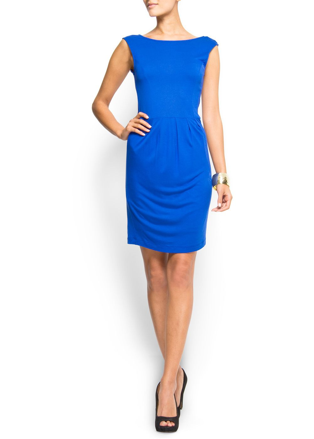 Vestido azul electrico mango
