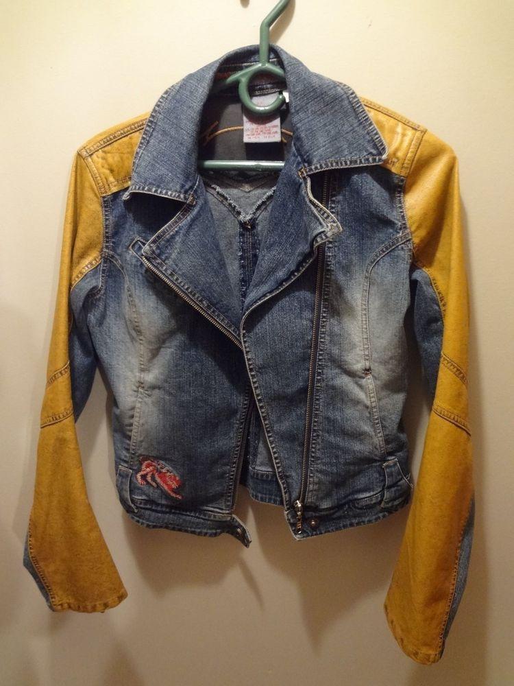 Vintage 90s Parasuco Women's Jean Jacket Embroidery Zip