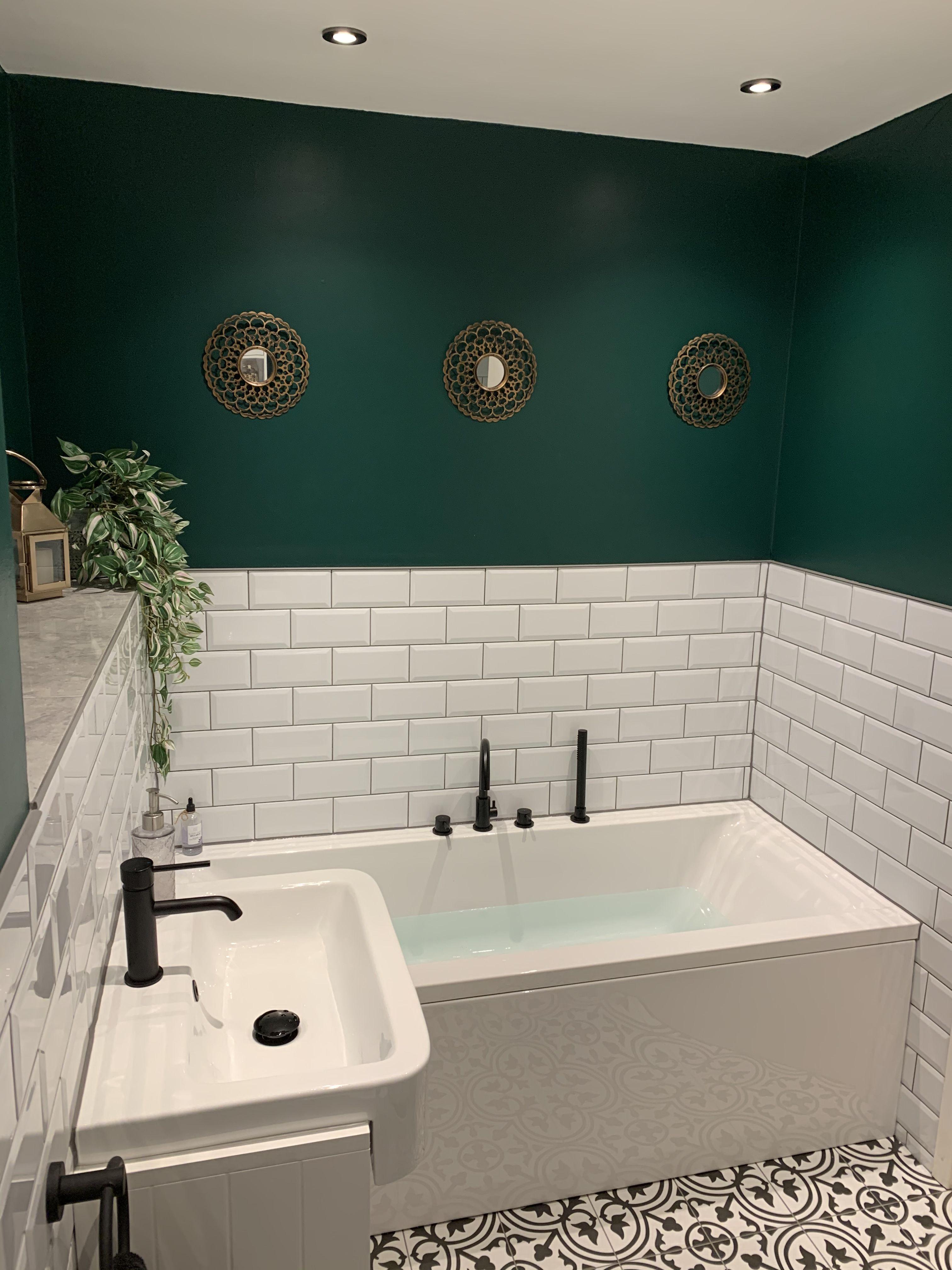 Metro Tiles Dark Green Bathroom Victorian Tiles Matt Black Taps