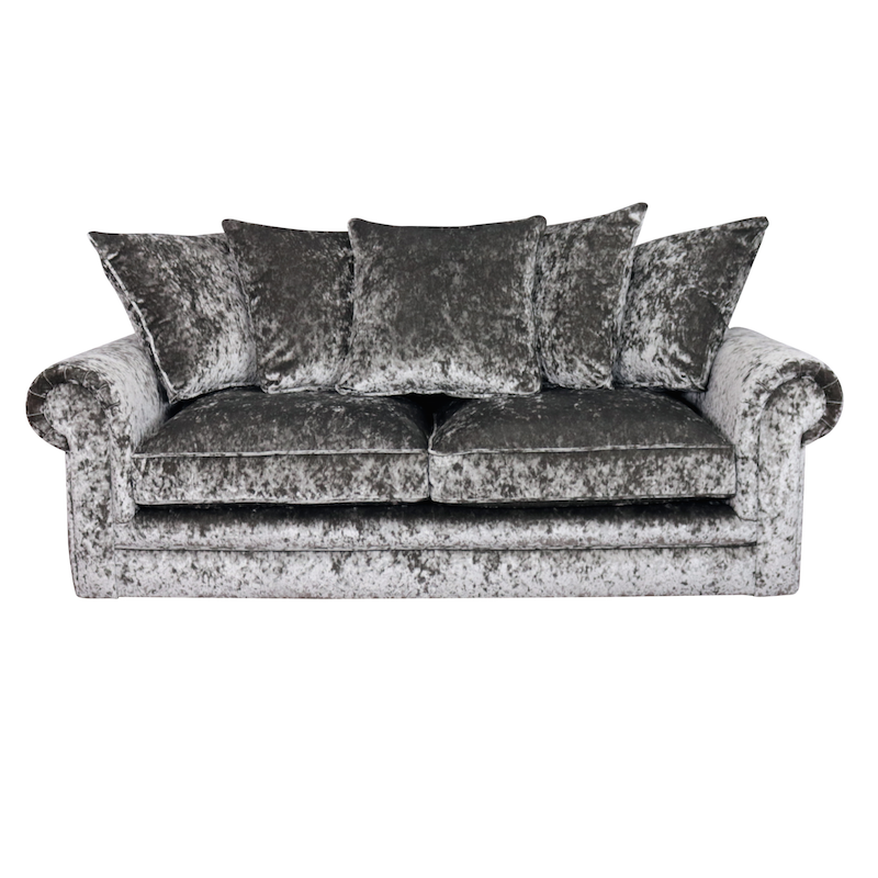 Velvet Sofa jupiter, crushed velvet, 4 seater sofa, silver, grey, left hand