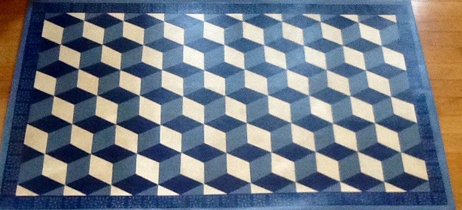 Tumbling block design floorcloth 3' X 5' Etsy Floor