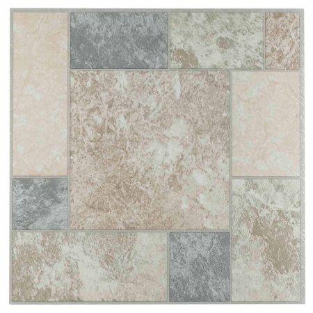 Nexus Marble Blocks 12x12Self Adhesive Vinyl Floor Tile - 20 Tiles/20 Sq.Ft., Multicolor