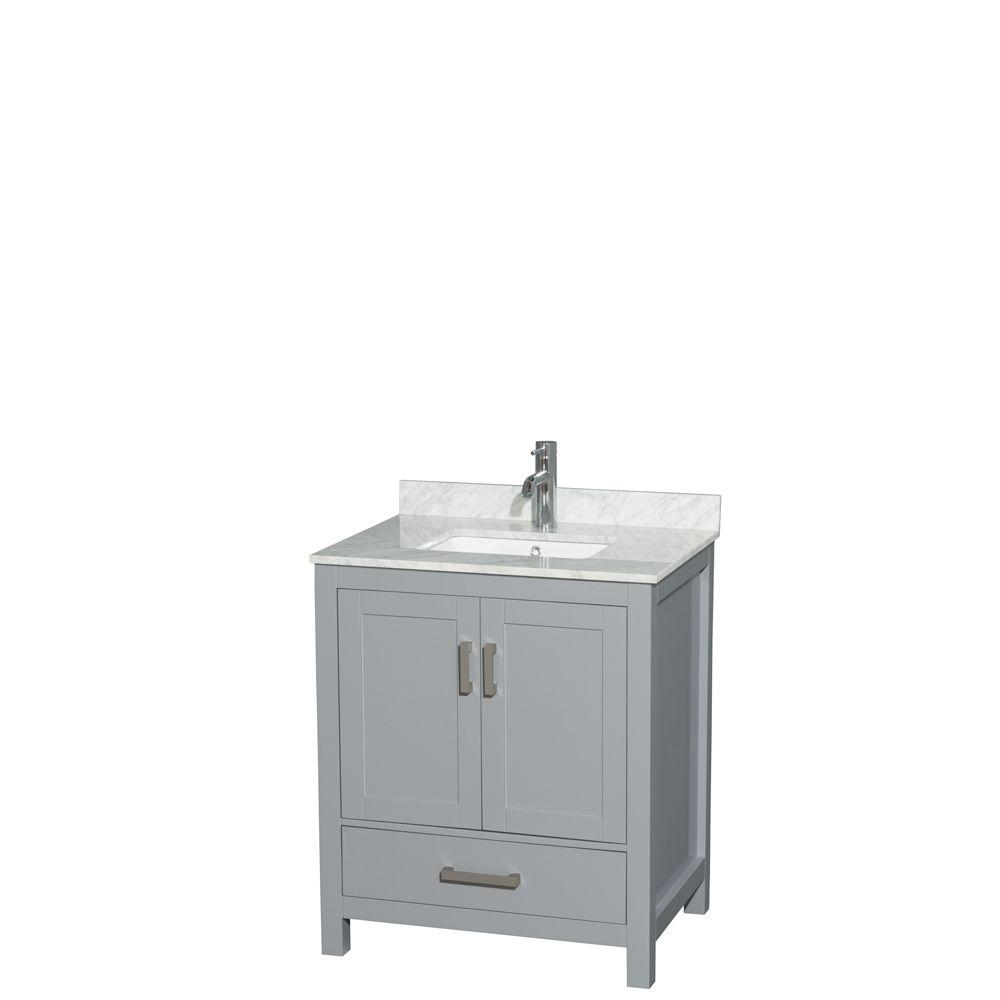 Wyndham Collection Sheffield 30 In W X 22 In D Vanity In Gray With Marble Vanity Top In Carrara White With White Basin Wcs141430sgycmunsmxx The Home Depot Single Sink Bathroom Vanity