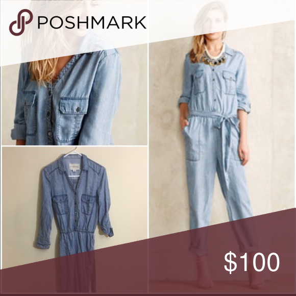 Anthropologie pilcro cambray jump suit Anthropologie pilcro cambray jumpsuit worn once. In perfect condition Anthropologie Pants Jumpsuits & Rompers