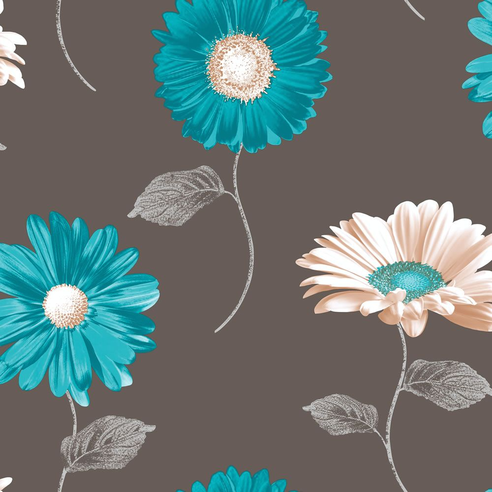 Muriva Daisy Chocolate Amp Teal Wallpaper 111505 Art