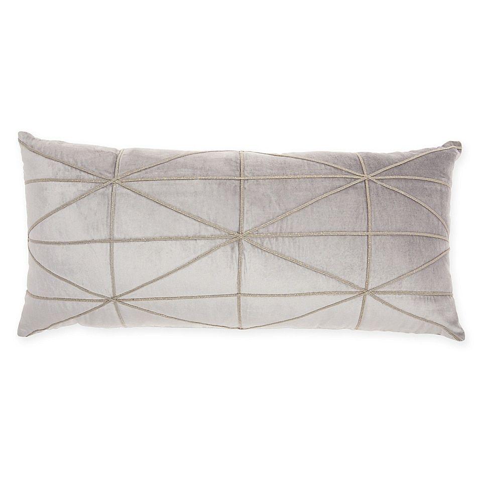 Embroidered Criss Cross Velvet Rectangular Decorative Pillow In