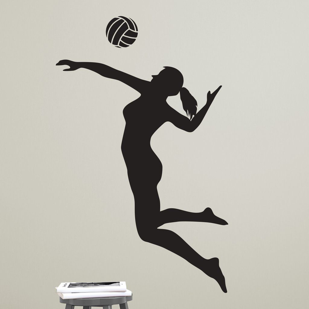 Volleyball Player Spiking Silhouette Sports Vinyl Wall Art Decal For Homes Kids Rooms Nurseries Preschools Kindergartens Elementary Schools Middle Schoo Volleyball Players Volleyball Drawing Volleyball Room