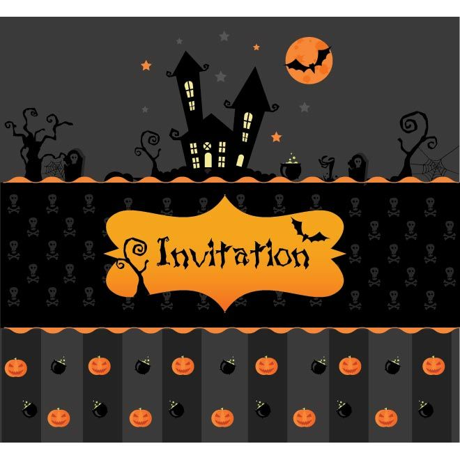 Vector Happy Halloween Skull Pattern Invitation Card Template