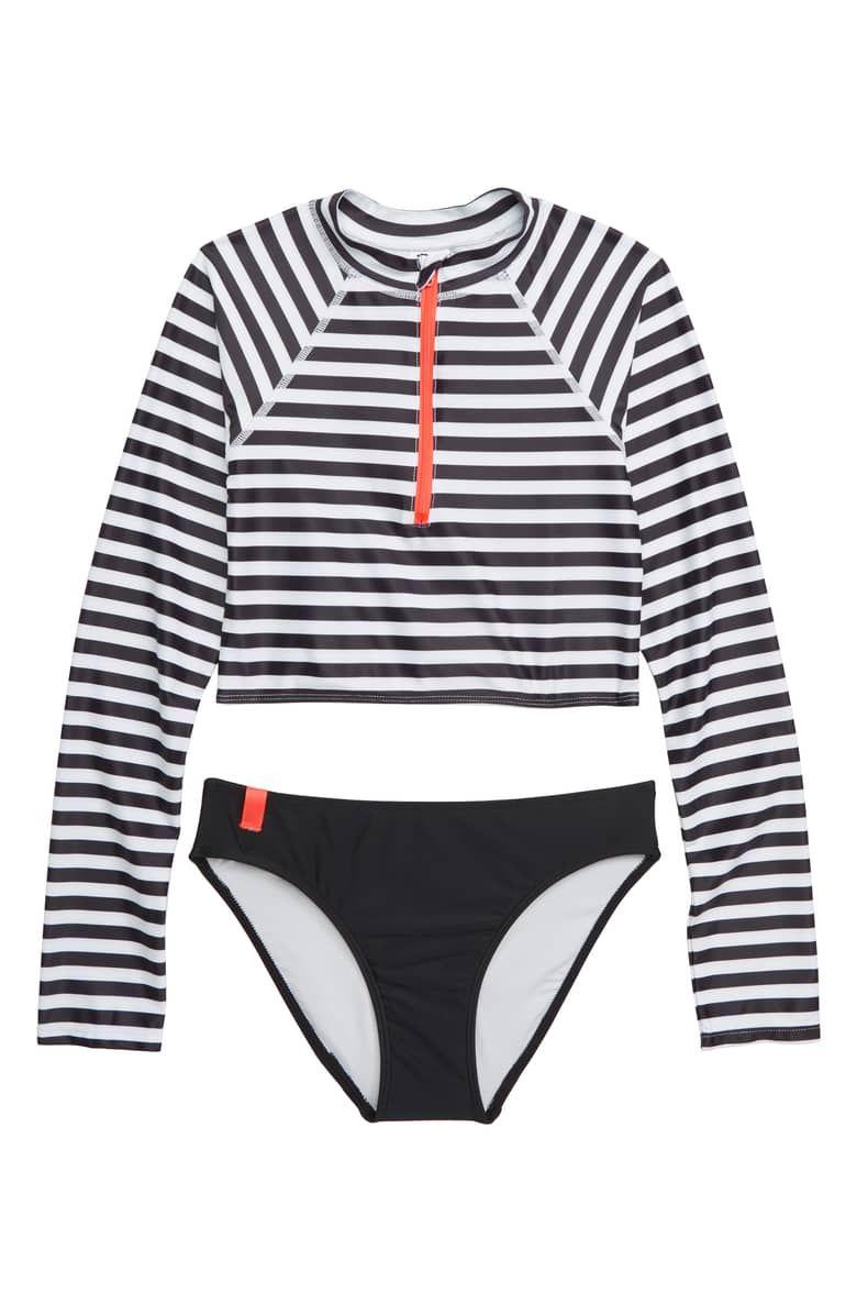 d51d38f299 TUCKER + TATE Crop Two-Piece Rashguard Swimsuit, Main, color, BLACK- WHITE  STRIPE