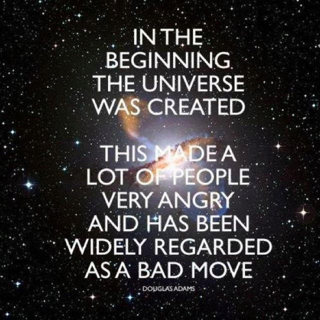 Douglas Adams universe creation quote