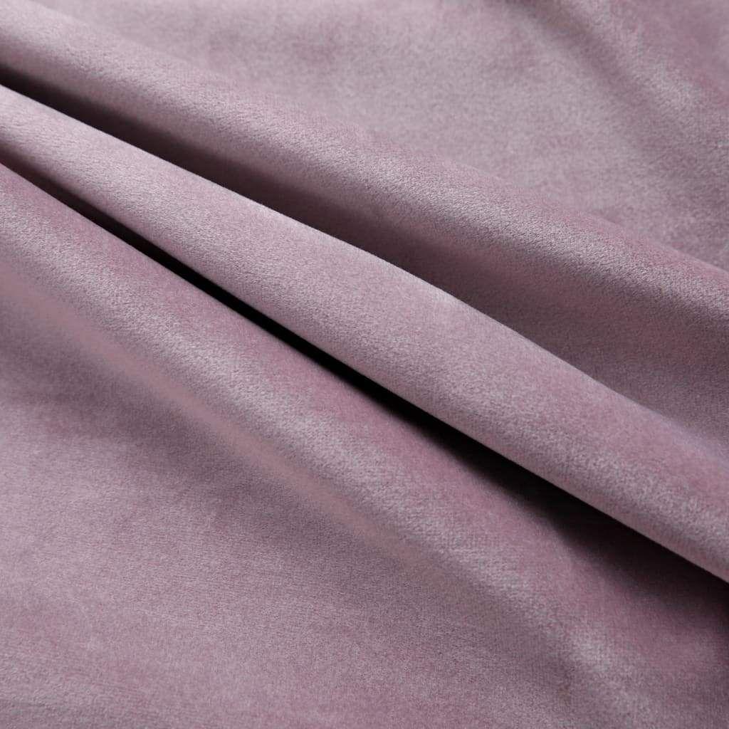 Blackout Curtains with Rings 2pcs Velvet Antique Pink 140x245cm