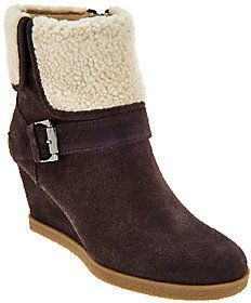 Isaac Mizrahi Live! Suede Wedge Ankle Boots w/ Faux Sherpa discount in China clearance pictures outlet looking for free shipping visit free shipping hot sale msOLs3lv