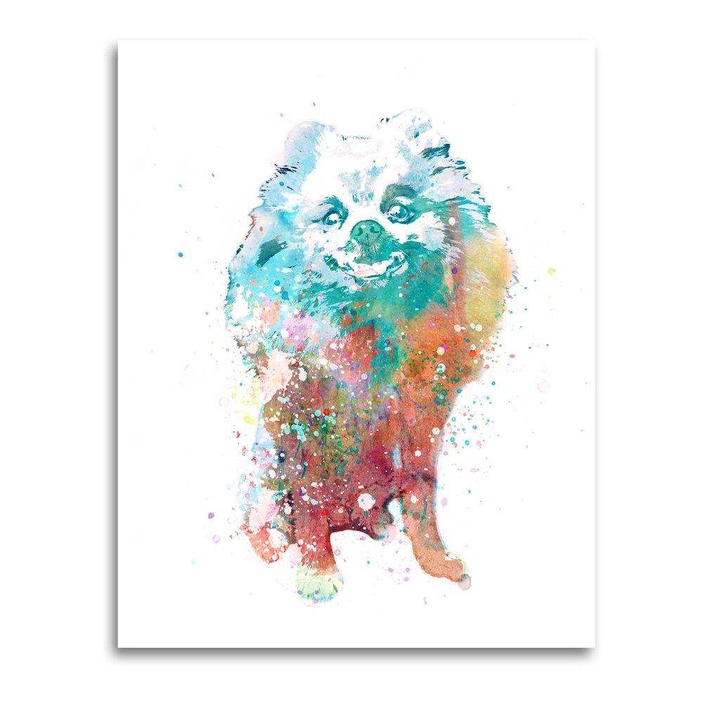 Pomeranian Wall Art Watercolor Dog Lg In 2020 Watercolor Dog Personalized Pet Art Watercolor Art
