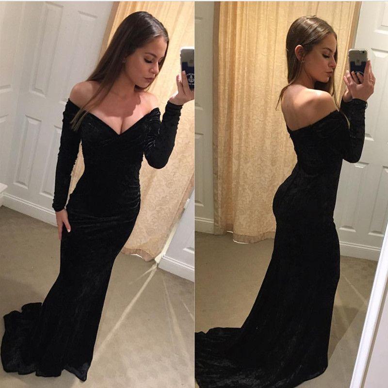 Black Mermaid Prom Dressvelvet Evening Gownslong Sleeves Evening
