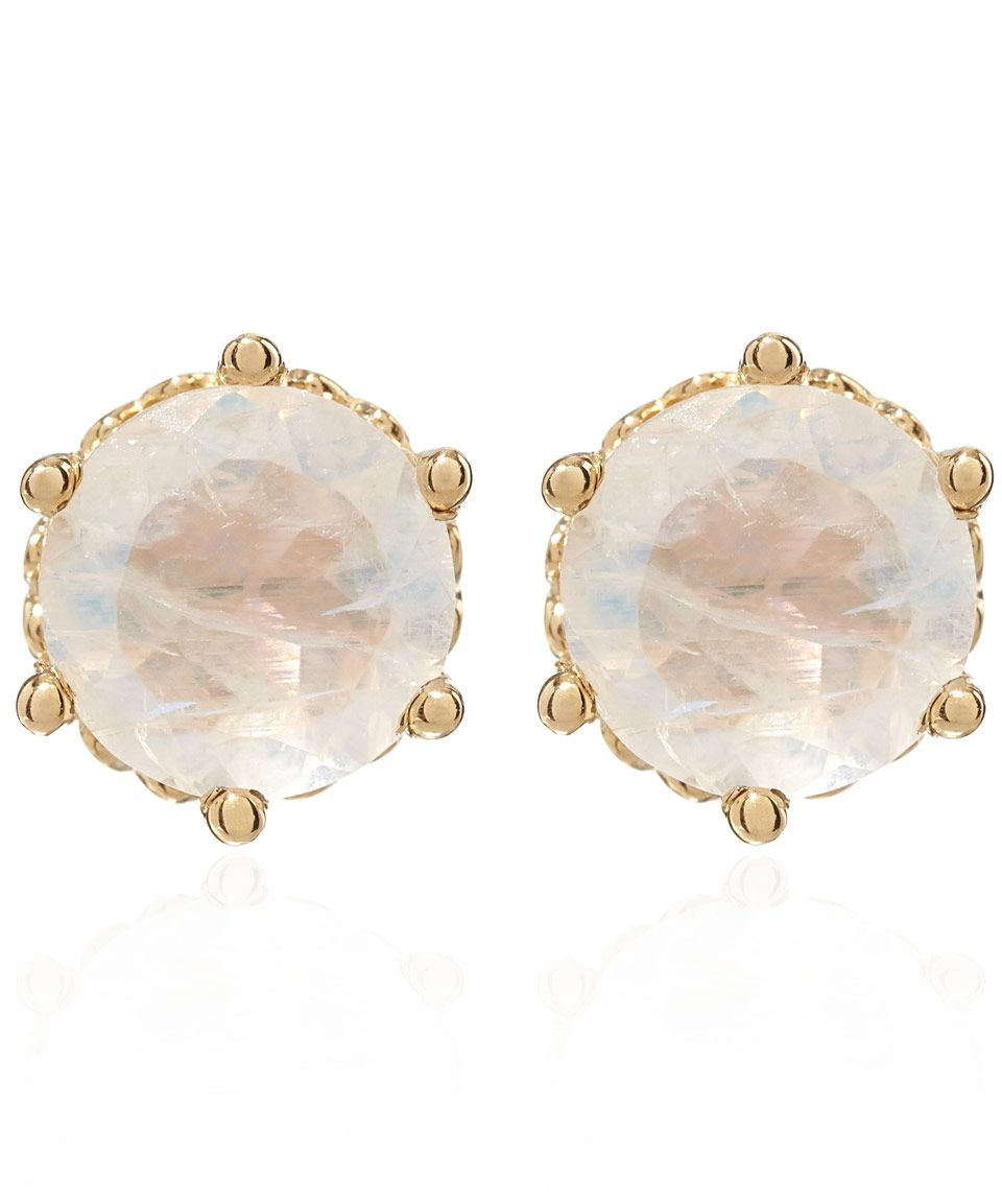 Anna Sheffield Gold Rainbow Moonstone Stud Earrings Fine Jewellery By Liberty