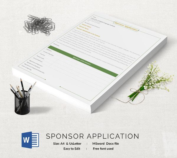 Sponsor Application Template 13+ Free Application Templates - Application Template