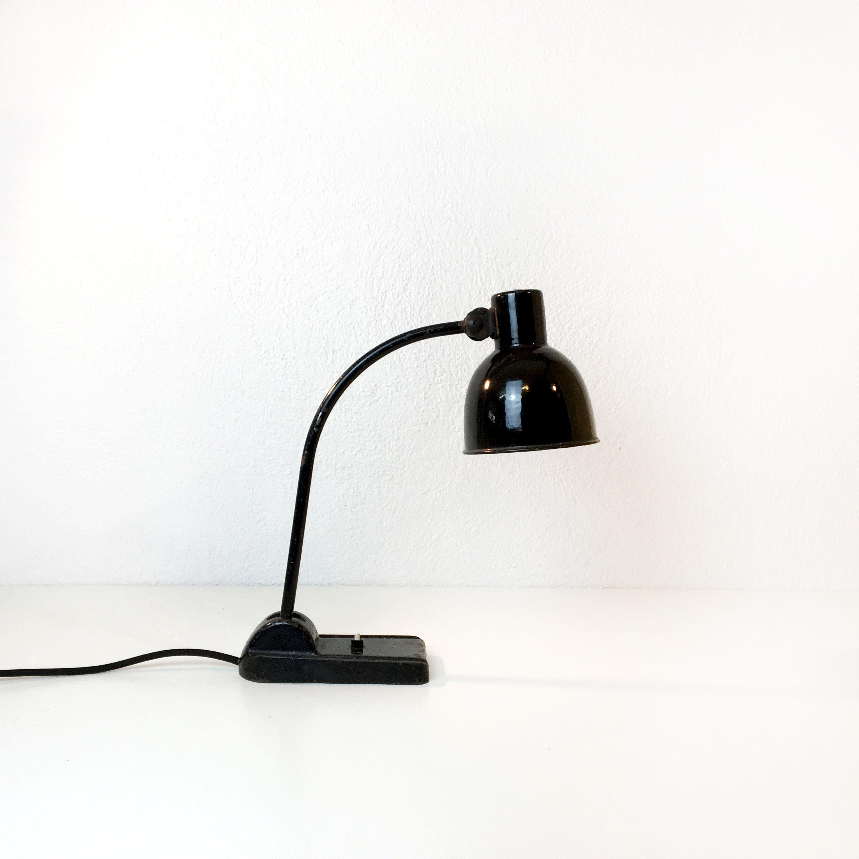 Alte Schwarze Vintage Tischlampe Bauhaus Tischleuchte