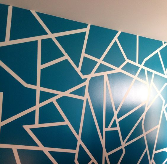 wall paint design ideas geometric wall paint design color glidden 10731 ocean teal for decor - Wall Paint Design Ideas