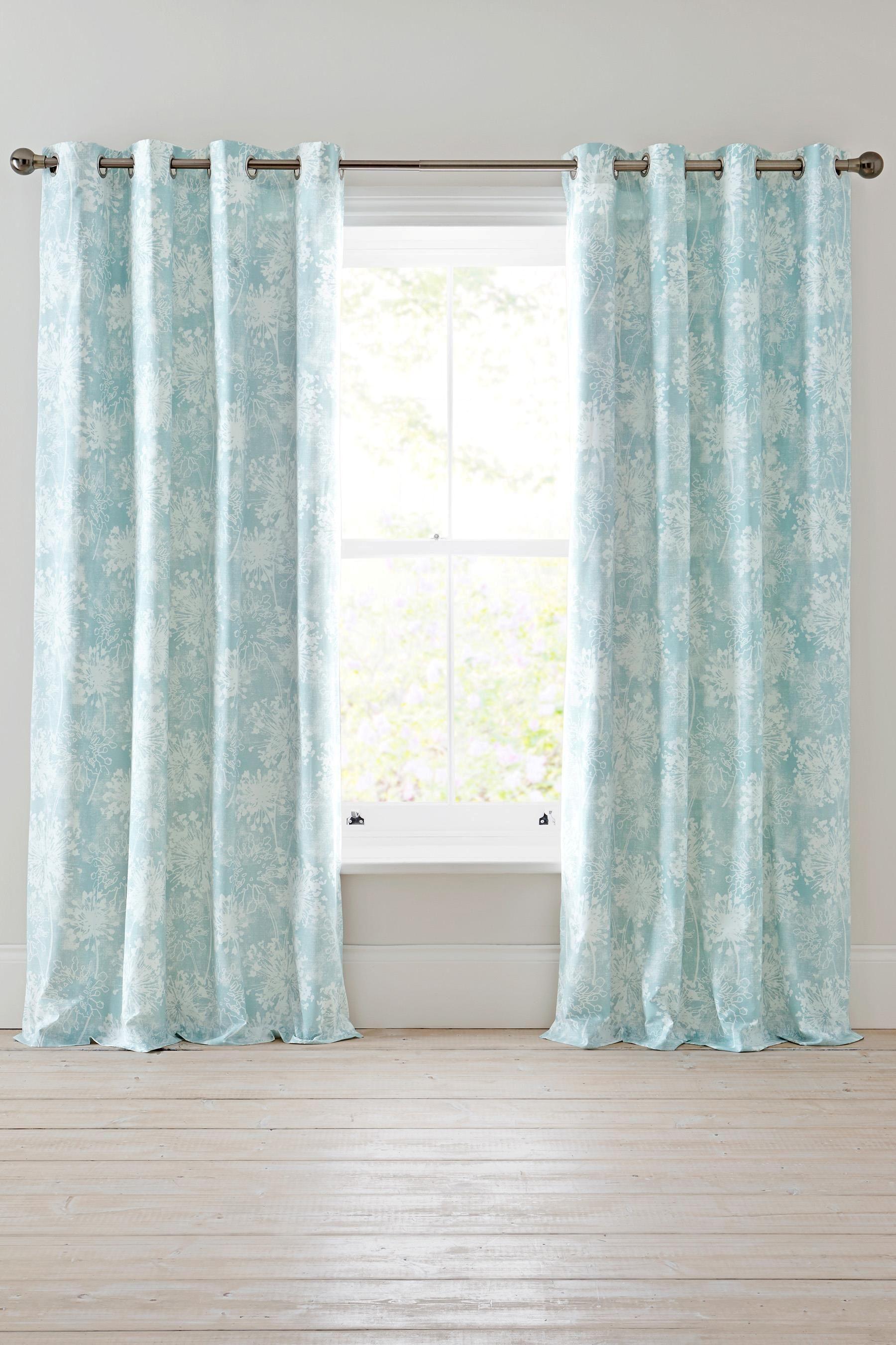 Buy Soft Aqua Wild Allium Print Eyelet Curtains From The
