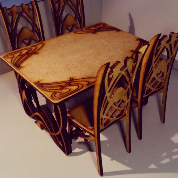 Art Nouveau dining table with 4 chairs, natural mdf wood