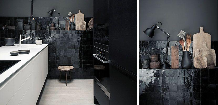 Resultado de imagen de cocina azulejo negro Office Pinterest