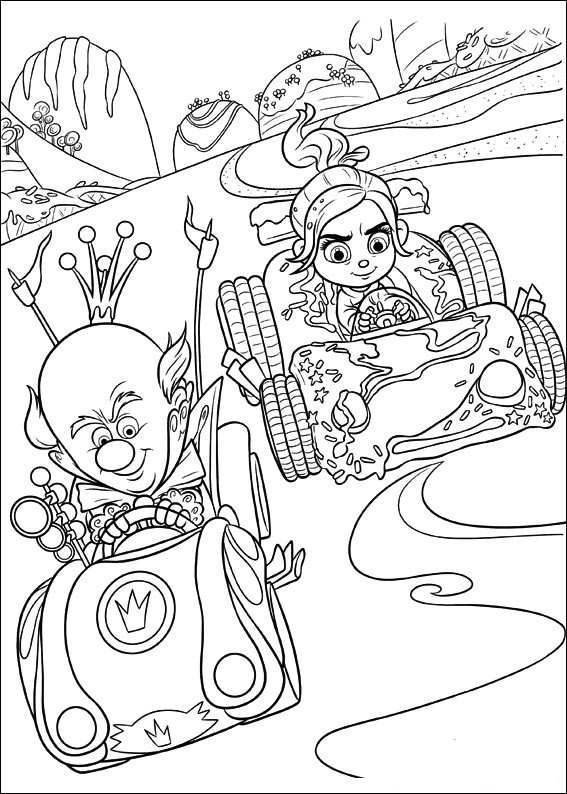 Coloring Page Wreck It Ralph King Candy Vanellope Coloring Books