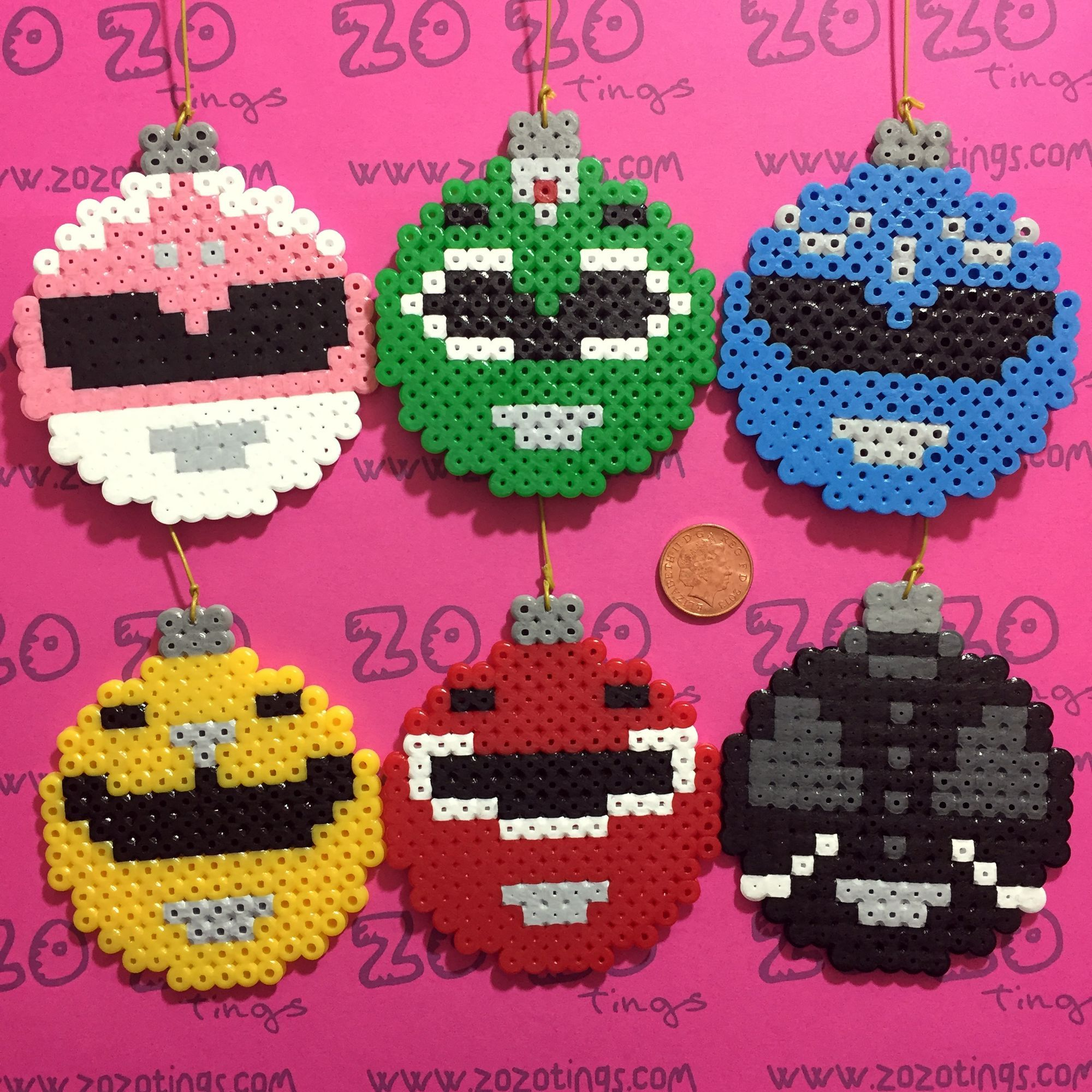 Zo Zo Tings - Power Rangers Noël Pixel Babioles | Ornaments Perler ...