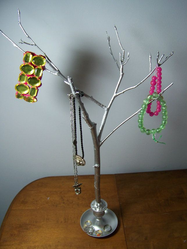 Do it yourself jewelry tree dorm and jewellery holder diy metallic jewelry tree definitely doing this for the dorm but i might solutioingenieria Choice Image