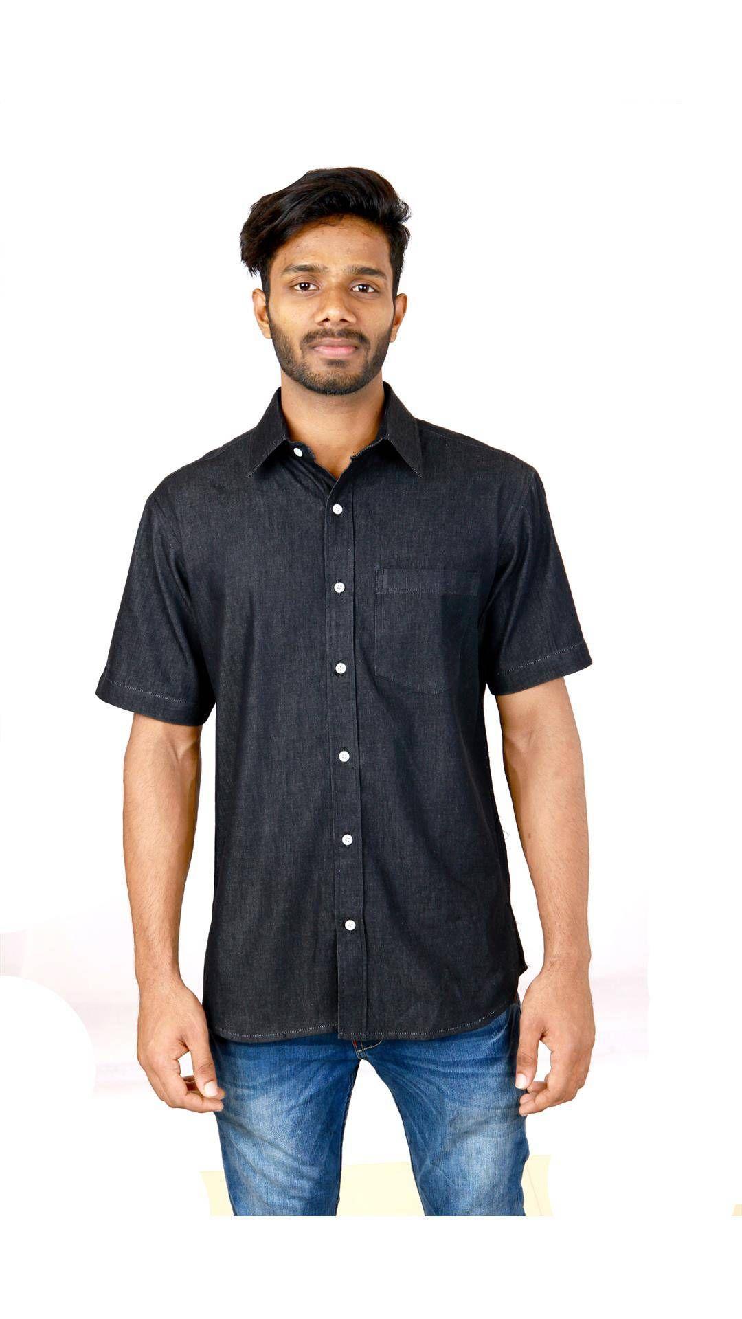 c5bdca2ef0b Buy COBRIO Black Denim Short Sleeve Shirt Online at Low Prices in India -  Paytm.com