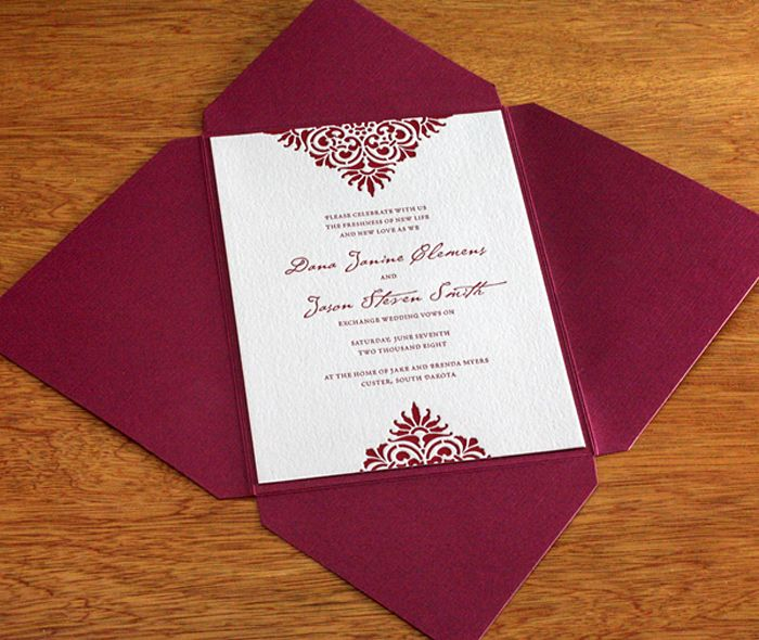 Victorian Style Wedding Invitation Mounted In Ruby Red Enclosure