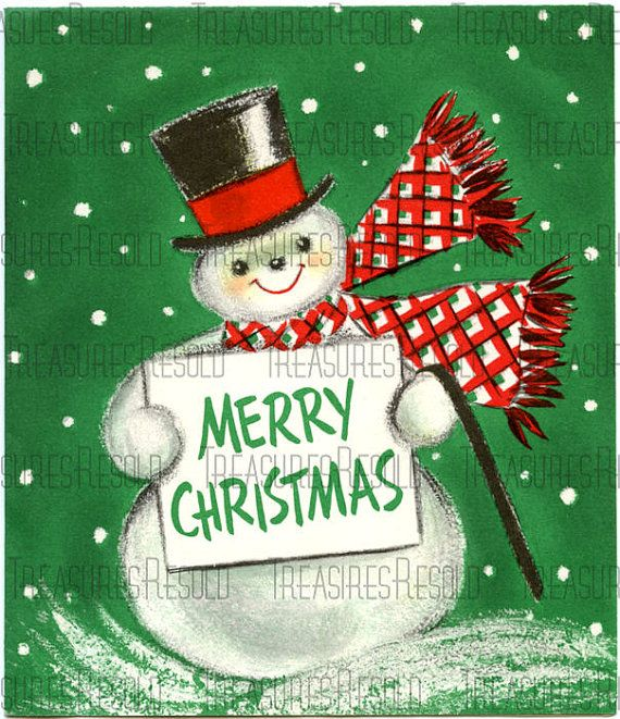 Download Christmas Cards.Retro Merry Christmas Snowman Card 207 Digital Download