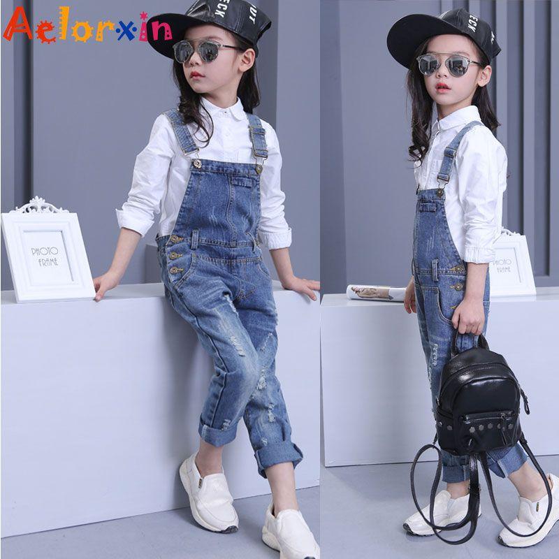 1b9b8497141b0 Denim Overalls For Girls Jeans Pants Children Clothes 2018 Spring ...