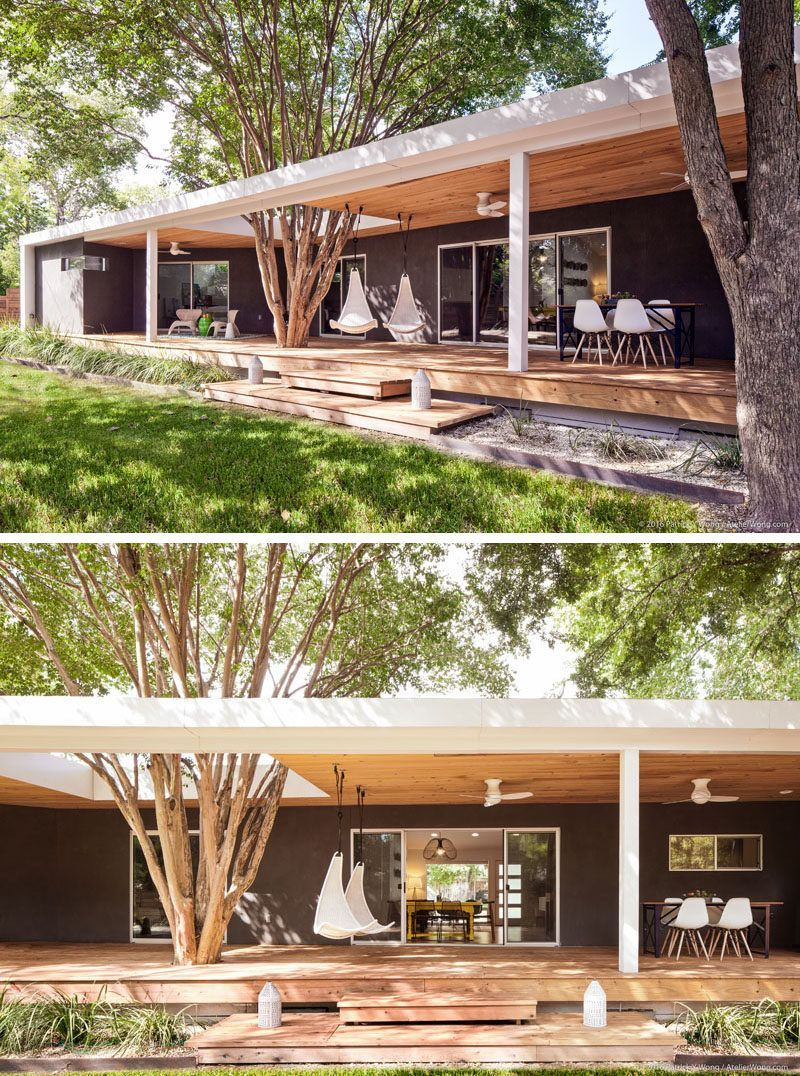 At the rear of this modern home a back porch was added that runs the & This 1962 Ranch-Style Home In Texas Was Given A Contemporary ...