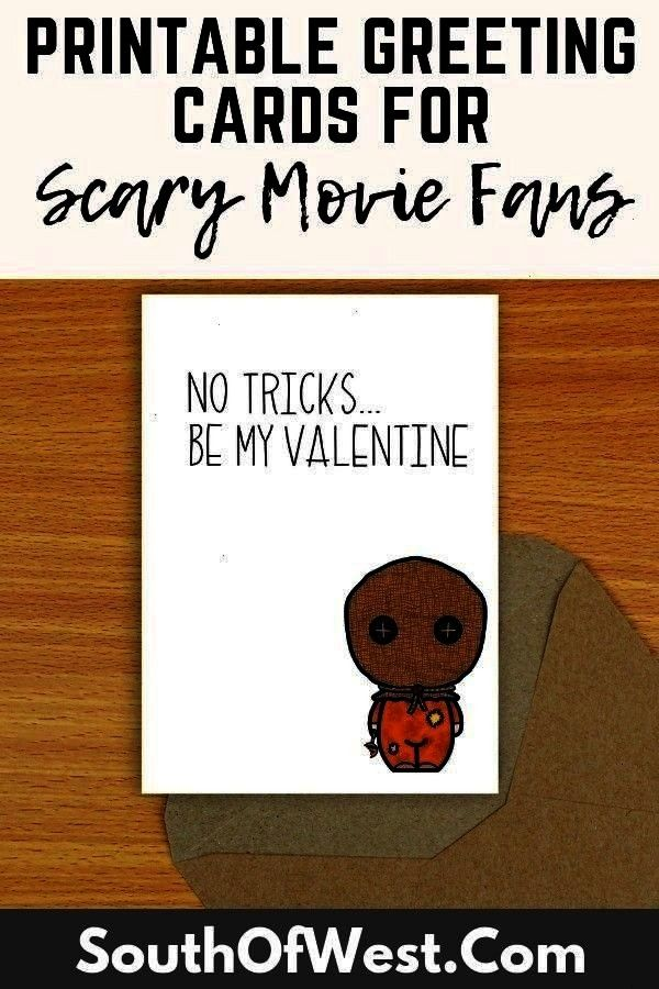 Card Printable Valentine Gift For Him Gift For Her Valentine Cards Card Trick R Treat Sam Horror Valentine No Tricks Be My Valentine Card Printable Valentine Gift For Him...