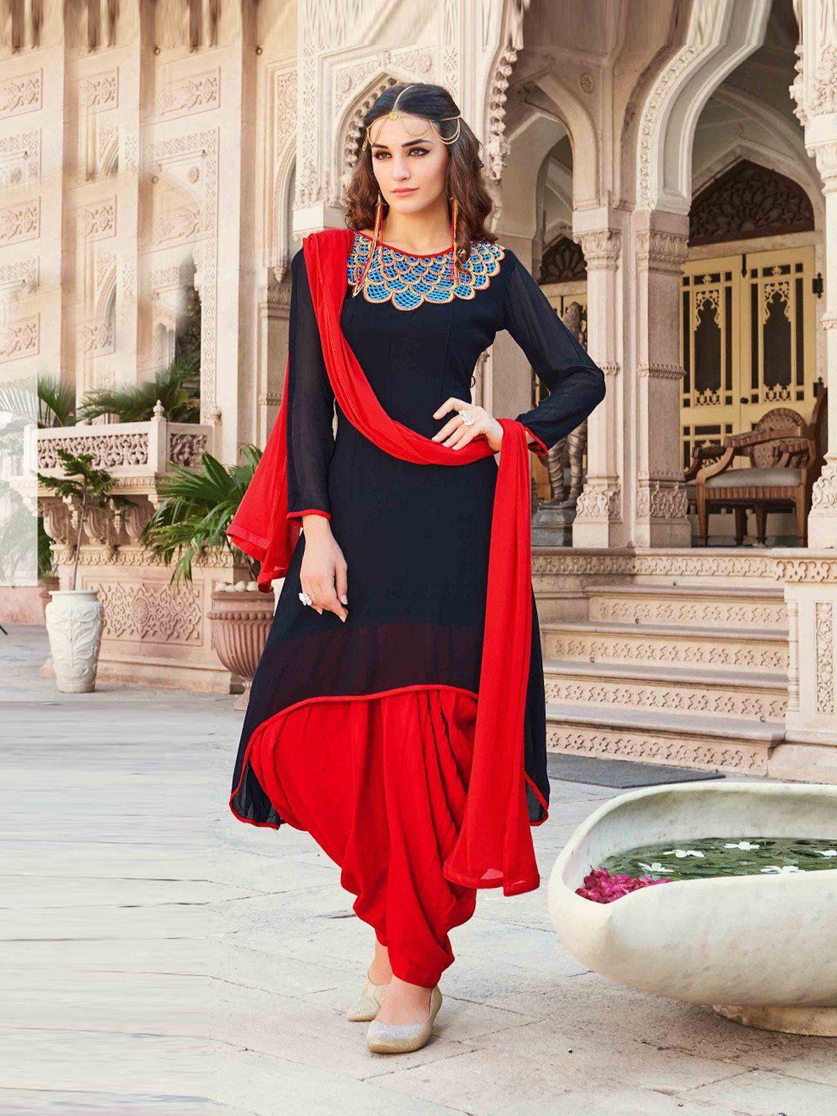 2cb8da0b2 Latest Black and Red Color Georgette Patiala Suit. Designer Bridal Lehenga,  Designer Salwar Suits