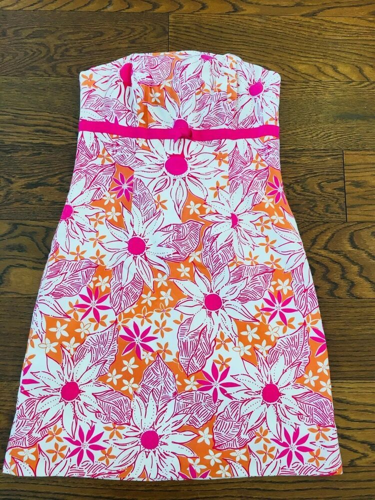 be3b72fe471a80 Lilly Pulitzer size 0 Pink Orange Floral Daisy Bow Strapless Sleeveless  Dress 630306353069 | eBay