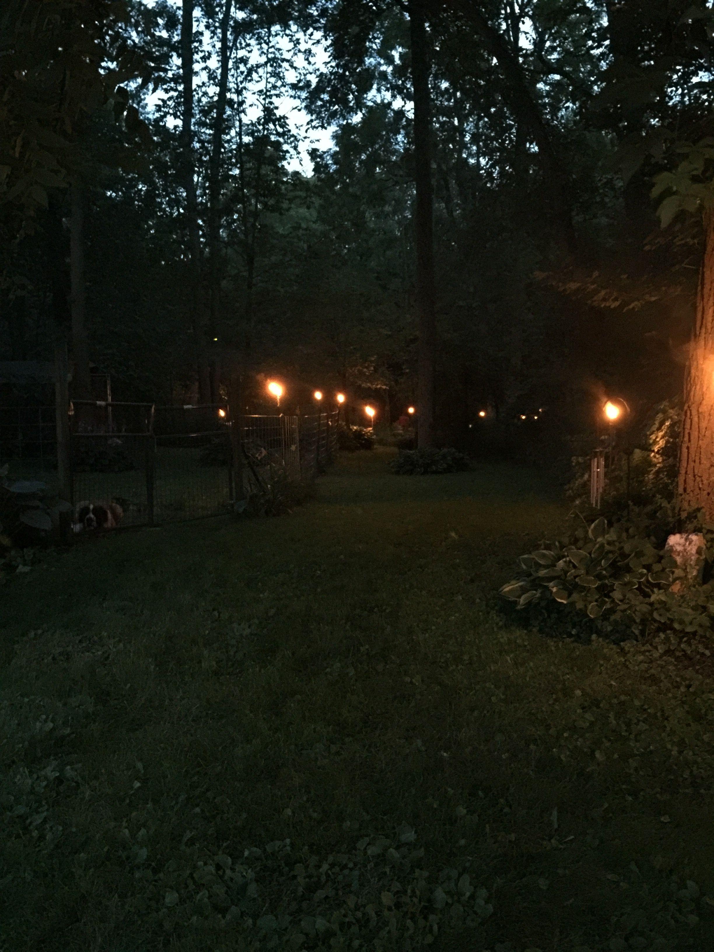 Tiki light pathway to the bonfire