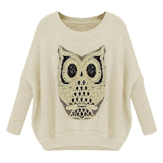 ZLYC Womens Batwing Sleeved Owl Pullover Loose Sweater (beige)