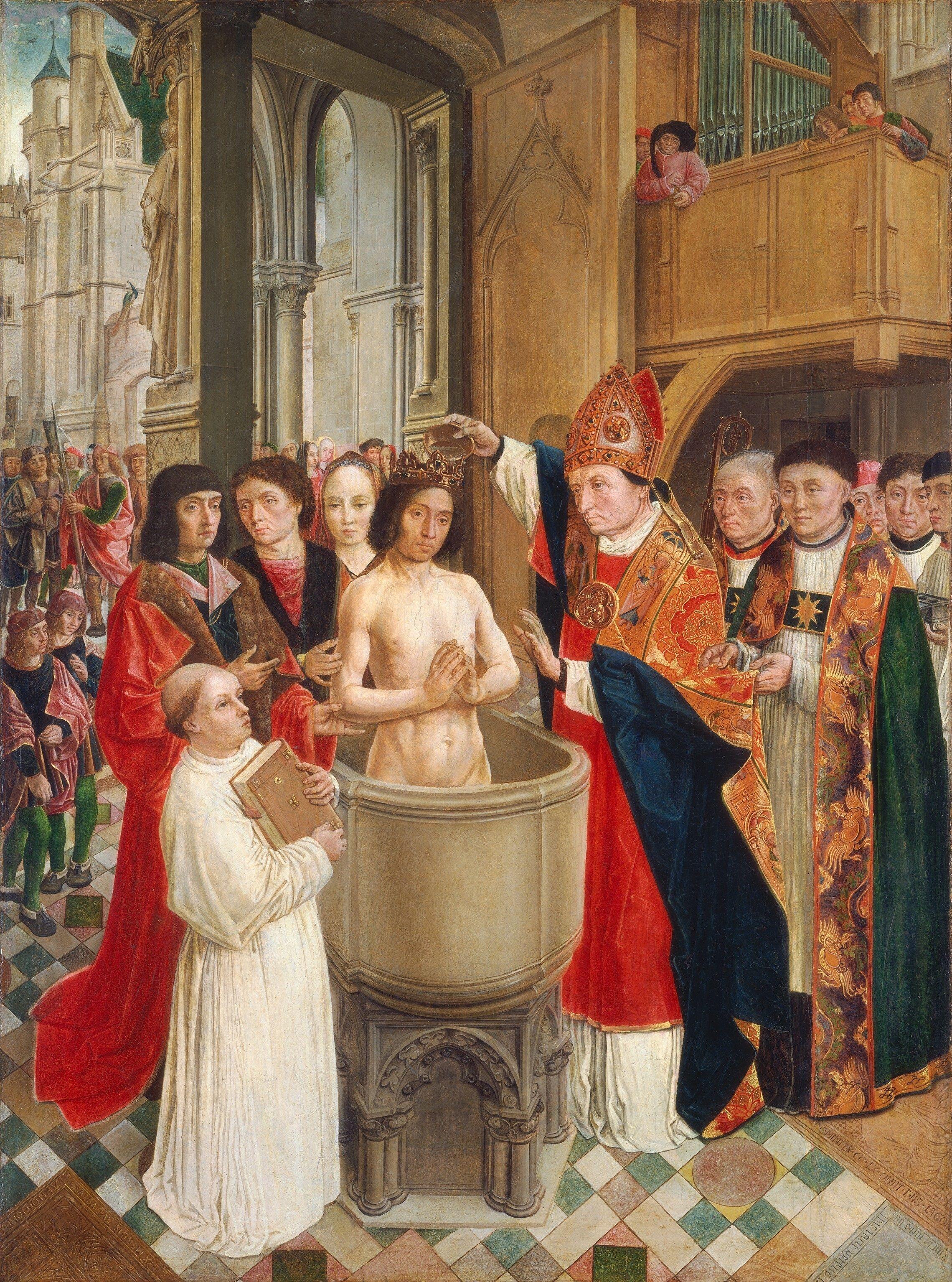 """Batismo de Clóvis"". (by Mestre de Saint Gilles)."