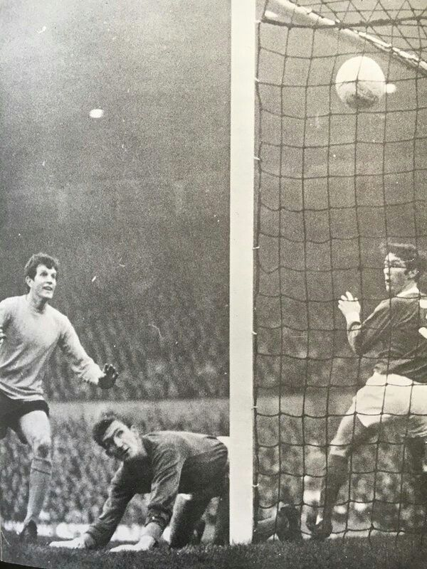 Man Utd 1 Southampton 2 in Oct 1968 at Old Trafford. Mick Channon watches as the ball goes in for a Saints goal #Div1