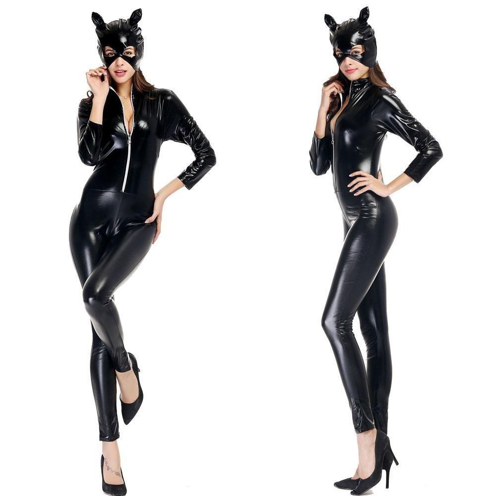 Ladies Black Catwoman maschera di gatto